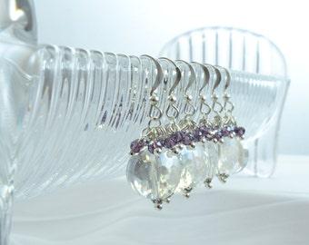 Round Crystal Earrings, Amethyst Crystals, Purple Wedding, Dark Purple Bridesmaid, February Birthstone, Purple Earrings, Disc Earring, M1059