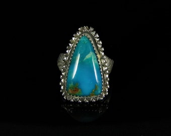 Turquoise Ring Sterling Silver Handmade Size 8.0, R0419