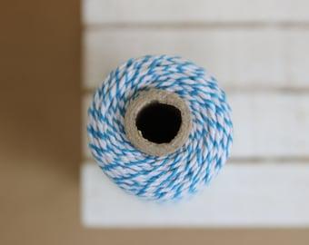 Sky BLUE Baker's twine - full spool of 110 yards - 100M - light blue & white - BT12