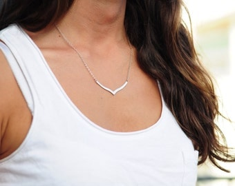 Silver Chevron Necklace minimalist geometric simple fashion boho