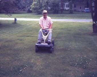 Vintage Color Slide Quot Dad S New Riding Lawn Mower Quot 1968