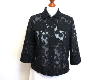Black Lace Blouse Womens Shirt 3/4 Sleeve Buttons Up Top Flowers Applications