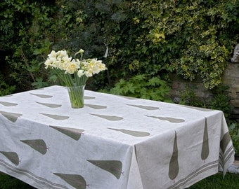Block printed TABLECLOTH - Large Green Cypress Trees with Green stripes with lightly patterned background