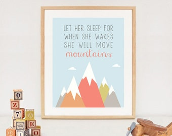 Let her sleep printable quote - nursery wall art decor girls - INSTANT DOWNLOAD