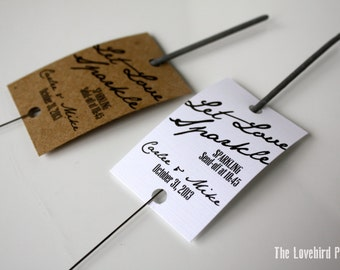 Wedding Sparkler Tags - Printable Let Love Sparkle Tags - PDF