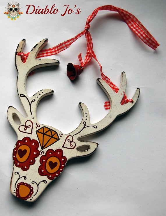 Mexican Sugar Skull Stag Day of the Dead Christmas Decoration