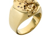 Steampunk 24K gold on silver ring solid octagon block Steampunk Ring