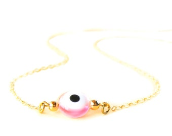 Pink Evil Eye Necklace - 14k Gold Filled Necklace - Bead Charm Necklace - Gold Chain Necklace - Delicate Chain Necklace - Gold Jewelry