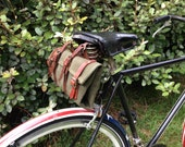 MacGyver's Canvas Bike Tool Roll - Earth Friendly, Created from an Upcycled Military Parts Roll with Military Surplus Leather Straps, Green