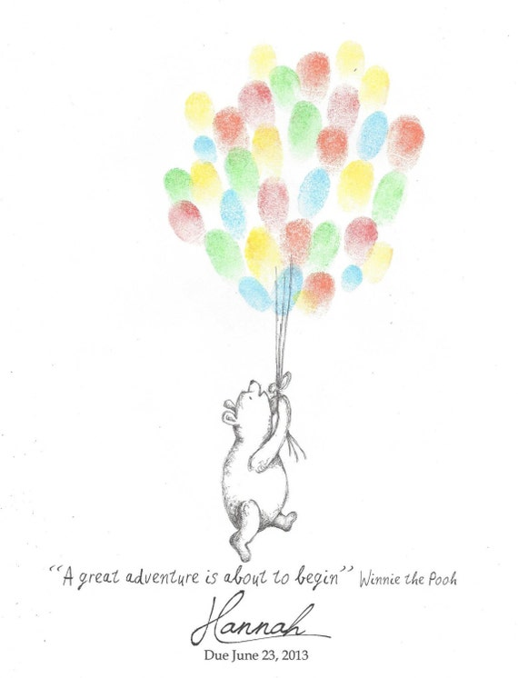 Teddy Bear Being Lifted By Balloons Fingerprint By Ptwatersdesigns