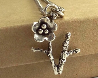 Twig and Flower Pendant,  Sterling Flower Necklace, Cast Sterling Twig Jewelry