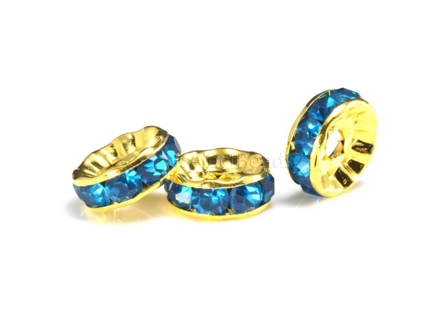 Rhinestone copper spacer bead yellow gold plated lake for Craft and jewelry supplies