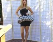 Saucy Vintage 80's Bubble Peplum Mini Party Dress . Black White Plaid Taffeta . Contempo Casuals label . Madonna Style Halloween Costume .