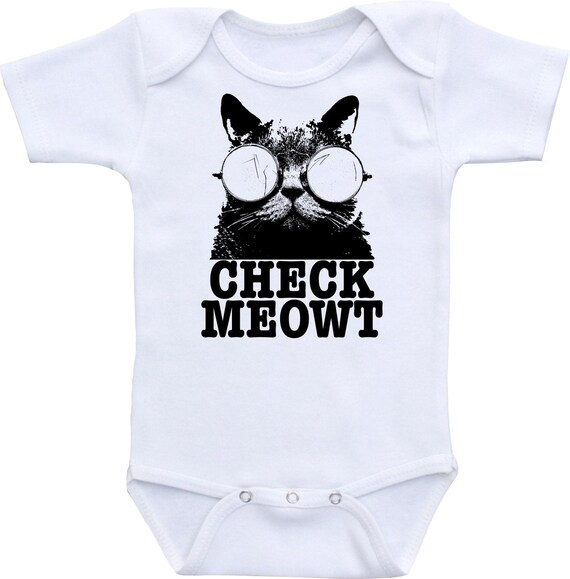 CHECK MEOWT - Cat Lovers Cute Baby Onesie, Bodysuit or Scaled to ANY Size shirt - Choose Color