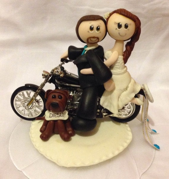 Motorcycle wedding cake topper bike cake topper by CuteToppers