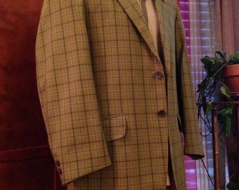 Men's Vintage Polyester/Cotton Green Plaid Jacket