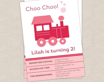Pink Train Invitation, Train Birthday Party, Girl Train Birthday, PRINTABLE INVITE, Choo Choo Train, Steam Engine, Girl Birthday