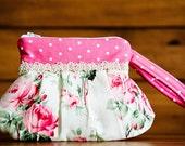 Handmade Small Pleated Wristlet/Clutch - Zippered Top - Shabby Inspired Pink Rose Print - Pearl Accented - FAAP, HAFAIR, TeamHaHa
