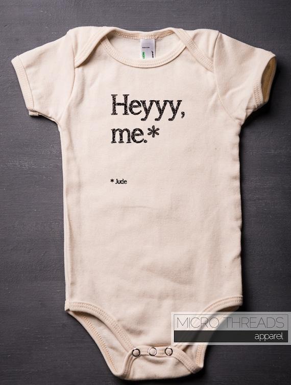Hey jude baby bodysuit organic cotton beatles music screen