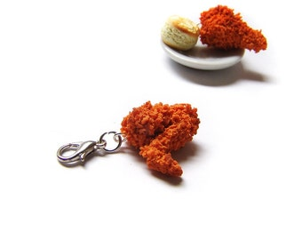 Fried Chicken Wing Charm - Miniature Food Jewelry - Polymer Clay Chicken Wing