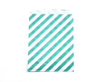 """25 Aqua Striped Favor Bags - 5"""" x 7"""" Wedding Treat Bags, Paper Bags"""