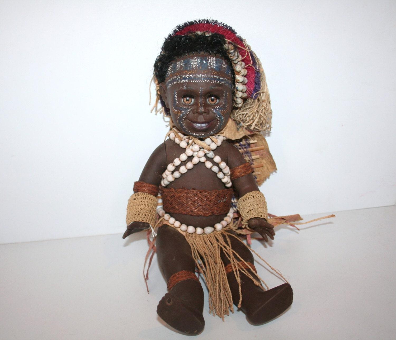 Stunning vintage australian matti dressed aboriginal rubber for Aboriginal body decoration