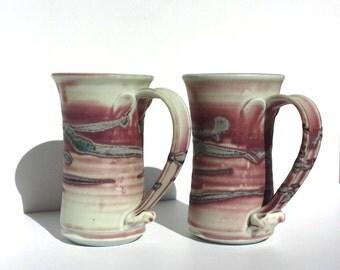 Mauve Pottery, Handmade pottery, Handmade Steins, Hand-thrown,Tankards, Pottery, Mugs, Beer Mugs, Earthenware