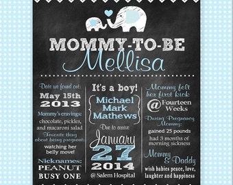 Custom Chalkboard Baby Shower Poster / Pregnancy Annoucement Poster - BOY - Printable / Mommy-to-Be / Birth Annoucement / Chevron Elephant