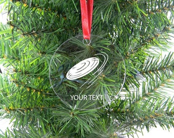 Personalized Custom Ultimate Frisbee Clear Acrylic Christmas Tree Ornament with Ribbon