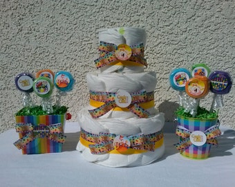 Candy Crushing Diaper Cake & 2 Wash Cloth Lollipop Bouquets