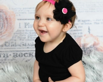 Black and hot pink Headband, Black Headband, Hot Pink Headband, Hot Pink Baby Headband, black flower Headband, black Flower Girl Headband