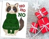 Funny Cat Christmas Card - Ugly Christmas Sweater Ho Ho No