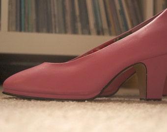 Pink Leather Retro Heels