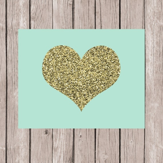 Wall Art Love Heart : Items similar to love heart print mint wall art