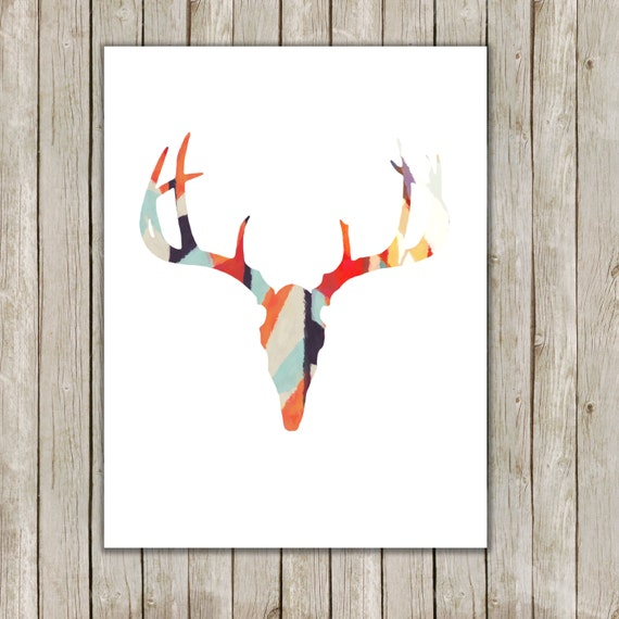 Items Similar To 8x10 Antler Art Print Modern Deer Art