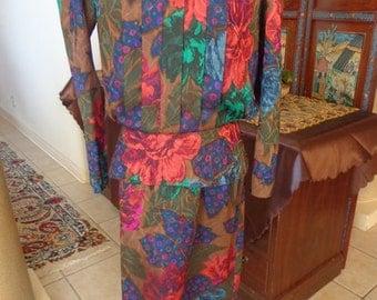 Leslie Faye Vintage 80's Fall Skirt Suit 2 Pc Floral Dress Suit 10 Sale Reg. 49.00