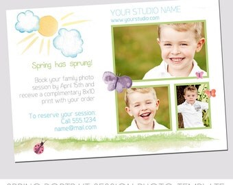 INSTANT DOWNLOAD - Spring Mini Session Photography Template - Marketing Template - Spring has Sprung! - Watercolor - Sunshine - Butterflies