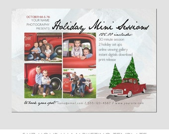 Mini Session Postcard - Photography Template - Flyer - Holiday - Christmas - Tree Farm - Kids - Minis - Photoshop - Elements - Easy - 5x7