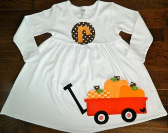 Fall Dress-Fall Pumpkin Dress-Pumpkin Appliqué Dress-Toddler girl dress-Personalized pumpkin Dress