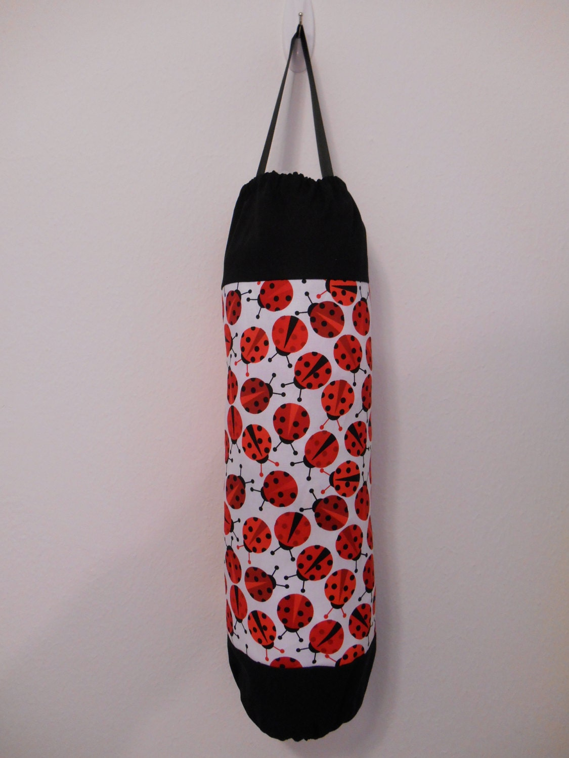 Plastic bag holder grocery dispenser red and black