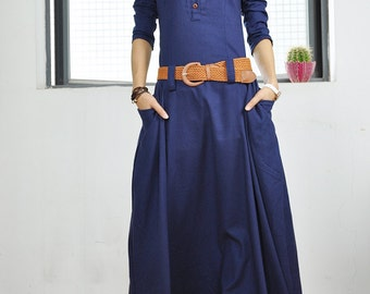 Full length blue dress linen dress big sweep plus size dress maxi dress sleeveless with two pockets