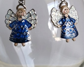 Dangle Earrings with Enameled Angel Charms #109J