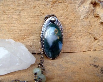 """Moss Agate & Prehnite sterling silver necklace // 31"""" chain // Pendant // Hand Stamped / Moss Agate jewelry"""