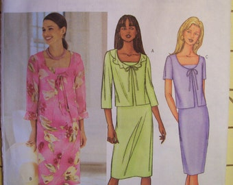 Butterick 3382. Sizes 12, 14, 16. Misses and Misses Petite JACKET AND DRESS. Pattern is uncut, unused, and factory folded.