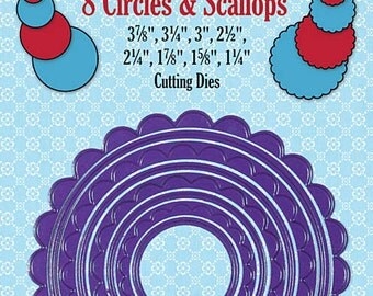 WOW PRICE!!!  8 Circles & Scallops Cutting Dies - Paper Artist Cutting Dies - By Hot Off The Press, Paper Wishes
