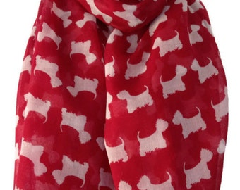 Westie Dog Scarf , Ladies Red and White Westie Scarf , West Highland Terrier Wrap Shawl , Scottie Dog Sarong
