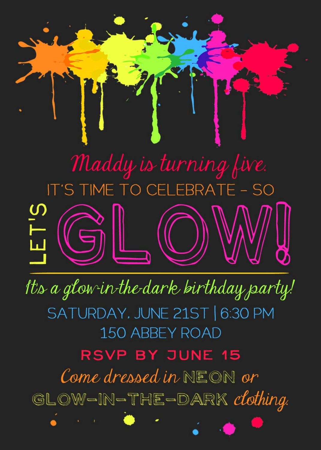 Gorgeous image inside free printable glow party invitations