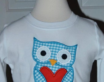 Personalized Valentine's Owl Heart Applique Shirt or Onesie Girl or Boy
