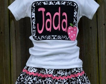Personalized Chalkboard with Apple Applique Shirt or Onesie Girl