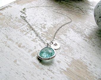 Erinite necklace aquamarine necklace Infinity Necklace custom letters monogram necklace Initial Necklace march birthstone aquamarine jewelry
